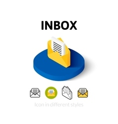 Inbox icon in different style vector