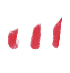 Lipstick grunge brush stroke set vector