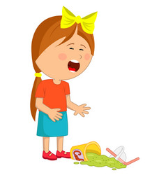 Little girl has dropped her fast food beverage vector