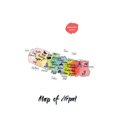 Map of nepal watercolor vector