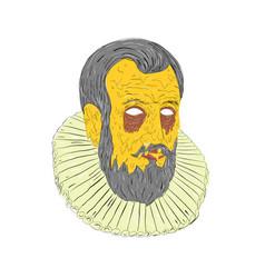 Nobleman wearing ruff collar grime art vector