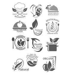 organic food and vegetarian nutrition icon set vector image vector image