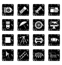 Photography icons set grunge style vector