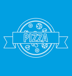 Pizza restaurant label with ribbon icon vector
