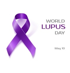 Purple Lupus awareness ribbon isolated on white vector image