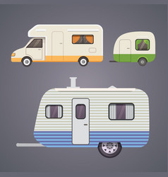 Retro camper trailer collection car trailers vector