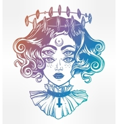 Strange witch girl head portrait with four eyes vector