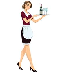Waitress with tray vector image