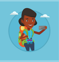 woman with backpack making selfie vector image