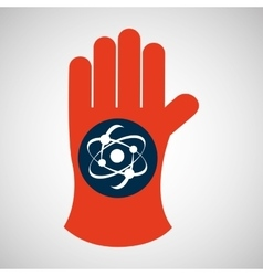 Chemical glove with atom science icon vector