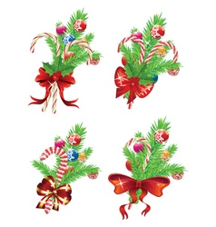 Candy canes with bow and branch vector