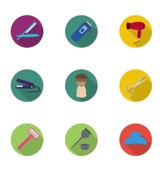 Hairdresser set icons in flat style big vector
