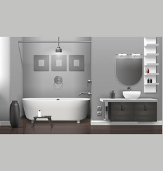Realistic bathroom interior vector