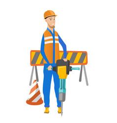 Young caucasian builder using pneumatic hammer vector