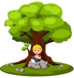kid boy using the computer cartoon vector image
