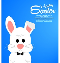 Easter background with cute white bunny vector