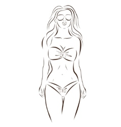 Girl in bikini on a white background vector