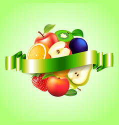 Fruits sphere with label background vector