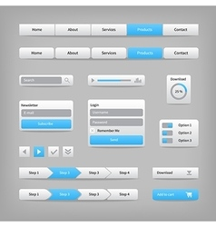 Web site elements with blue buttons navigation on vector