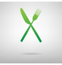 Fork and knife green icon vector