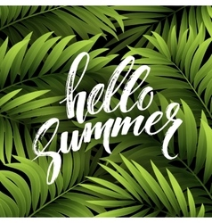 Summer background with palm leaves and hand vector
