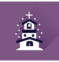 Flat icon with long shadow Catholic church vector image