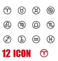Grey zodiac symbols icon set vector