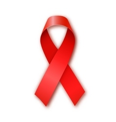 Aids awareness red ribbon on white background vector