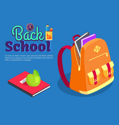 Backpack full of book textbook with apple vector