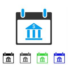 Bank building calendar day flat icon vector