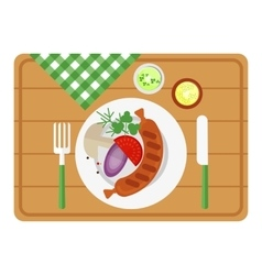 bbq sausage on wooden tray vector image