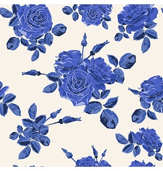 Beautiful seamless blue roses pattern vector image vector image