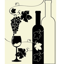 bottle wine glass grapes vector image