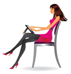 Business woman with tablet vector image vector image