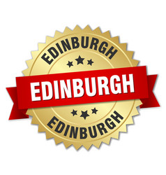 Edinburgh round golden badge with red ribbon vector