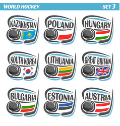 Flags of national ice hockey teams vector