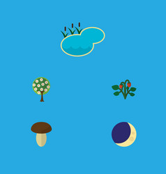 Flat icon natural set of half moon berry pond vector