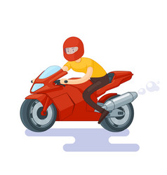 Flat red sport bike concept vector