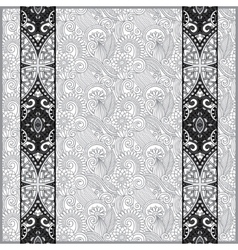 Grey lace border stripe in ornate floral vector
