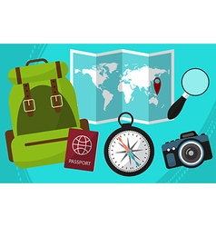 Hike and travel by world with passport facilities vector image vector image