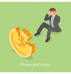 Isometric 3d concept for financial crisis vector image vector image