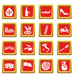 Italia icons set red vector