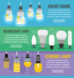 lamp energy banner horizontal set flat style vector image vector image