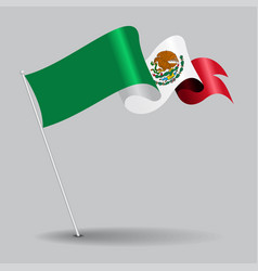 Mexican pin wavy flag vector
