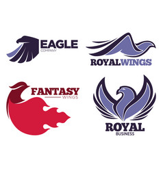 Phoenix bird or fantasy eagle logo templates set vector