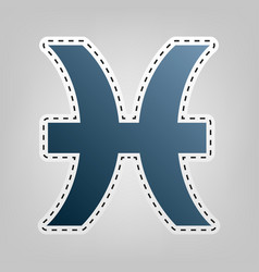 Pisces sign blue icon with vector