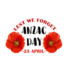 Red poppy flower symbol of anzac remembrance day vector
