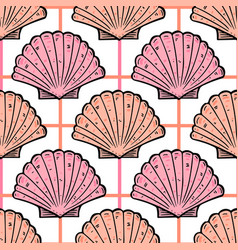 Sea shells vintage seamless pattern marine vector