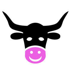 Smiled cow head icon vector