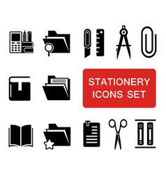 stationery icon set vector image vector image